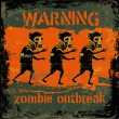 "Retro design ""Warning Zombie Outbreak"" sign board with zombie — Stock Vector"