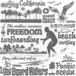 Surfing doodles set, hand drawn design elements. — Stock Vector