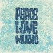 Retro design of Peace, Love and Music — Vettoriali Stock