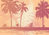 Tropik sahil ve çiçek arka plan. — Stok Vektör