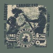 "Retro design ""Punk Not Dead"" for t-shirt print — Stock Vector"