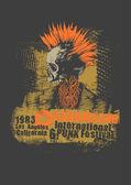 Retro design Punk festival for t-shirt print, with punk skull — Stock Vector