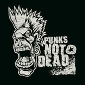 "Retro design ""Punk Not Dead"" for t-shirt print, with screaming punk head — Stock Vector"
