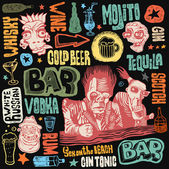 Crazy bar doodles, hand drawn design elements. color version. — Stock Vector