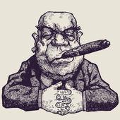 Boss with cigar — Stock Vector