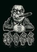 """Retro design """"Boss"""" — Stock Vector"""