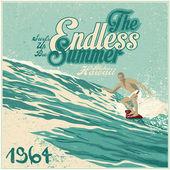 """Retro design """"The Endless Summer"""" — Stock Vector"""