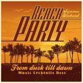 """Retro design """"Beach Party"""" — Stock Vector"""