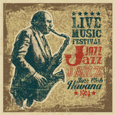 "Retro design ""Live Music Festival Jazz — Stockvektor"