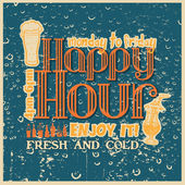 Retro design Happy Hour drink — Vector de stock