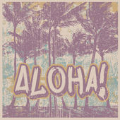"Retro design ""Aloha!"" with silhouette palms — Vector de stock"