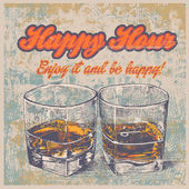 Retro design Happy Hour drink with whiskey — Stockvector