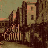 Old town and dawn — Vector de stock