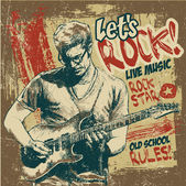 "Retro design ""Let's Rock!"" with guitarist — Stock Vector"