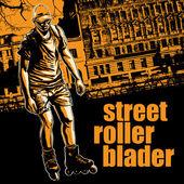 "Design poster ""Street Rollerblader"" with rollerblader — Stock Vector"