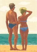 Op het strand (echt) paar. — Stockvector