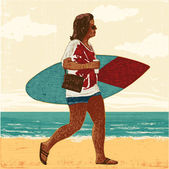 Young woman with a small surfboard — Stock Vector