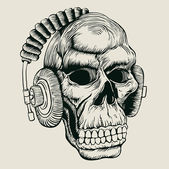 Skull in headphones — Stock Vector