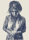 Gloomy crazy girl — Stock Vector