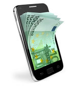 Smart phone with money concept. Euro. — Stock Photo