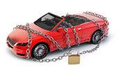 Auto značky chráněné & zajištěné řetězem — Stock fotografie