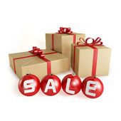 圣诞销售礼品和球,孤立 — 图库照片
