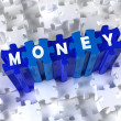 Creative 3D pieces of puzzle and word MONEY - Stock Photo
