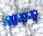 Creative 3D pieces of puzzle and word Vision — Stock Photo