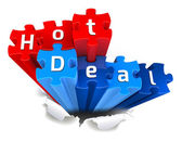 HOT DEAL puzzle and torn paper — Stock Photo