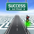 Leadership and business vision with strategy in corporate challenges. Road sign. Green traffic light. — Stock Photo