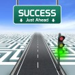 Stock Photo: Leadership and business vision with strategy in corporate challenges. Road sign. Green traffic light.