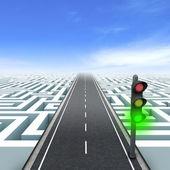 Green traffic light. Labyrinth — Stock Photo