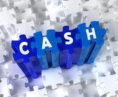Kreative 3d stück puzzle und wort cash — Stockfoto