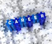 Creatieve 3d stukken van de puzzel en word carrière — Stockfoto