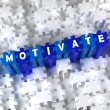 Постер, плакат: Creative 3D pieces of puzzle and word Motivate