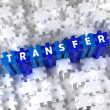 Creative 3D pieces of puzzle and word Transfer — Stock Photo