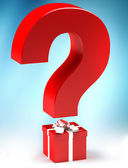 Gift with questionmark — Stock Photo