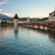 Lucerne, the Chapel Bridge, early morning — Stock Photo