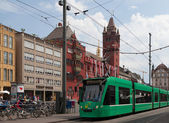 Green tram in Basel — Stock Photo