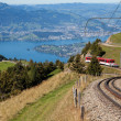 Mountain railway on Mt. Rigi — Stock Photo