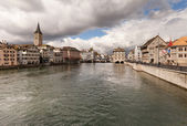 Zurich on a cloudy winter day — Stock Photo
