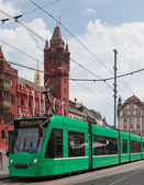 Green tram in Basel — ストック写真
