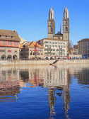 Zurich, the Great Minster Cathedral — Stock Photo