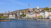 Zurich, view on the Central Square across the Limmat river — Stock Photo