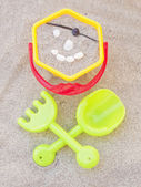 Shovels and toy bucket — Stockfoto