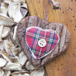 Fabric heart hanging — Stock Photo
