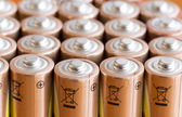 Gold Batteries in Rows with Silver — Stock Photo