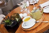 Tea service in reastaurant — Stock Photo