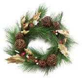 Christmas wreath with poinsettia on white background — Stock Photo