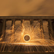 Stock Photo: Sparking fire ring on National Monument, Edinburgh, Scotland.